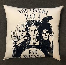 "Beautiful Handmade Hocus Pocus Accent - Throw Pillow 12"" x 12"" Bad Witch"