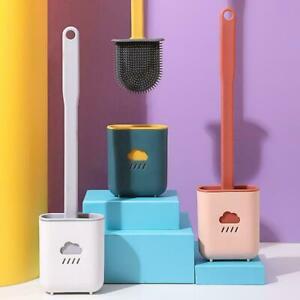 Silicone Toilet Brush w/ Toilet Brush Holder Wall-Mounted Brush Cleaning Y0U7