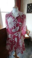 Vintage Retro 60s/70s Pink Floral Floaty Kitsch Chic Mini Day Dress 8-10 VGC