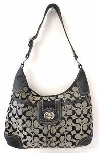 Coach F13971 Black Canvas Hobo Bag Purse