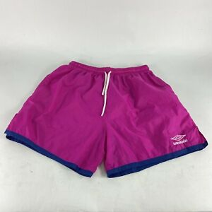 Vintage Umbro Nylon Soccer Shorts Made in USA VTG Size XL Pink/Navy Blue