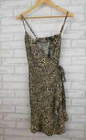 Dotti Wrap dress Sz 10 Brown, black leopard print