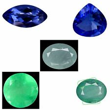 5 pieces natural earth mined gemstones, TANZANITES, EMERALDS, and GRANDIDIERITE