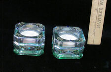 2 Party Lite Candle Holders Tea Lights Green Pink Iridescent Rhinestones
