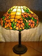 signed Bradley & Hubbard old leaded glass lamp - Handel Tiffany arts crafts era