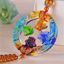 Liuli Crystal Glass Feng Shui Goldfishes Hanging Ornaments Lucky Mascot Box Pack