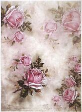 Rice Paper for Decoupage Scrapbook Craft Sheet A/3 Pink Roses and Shadows