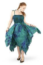 New Tie Dye Hanky Hem Long Fairy Dress Faery Festival PLUS size