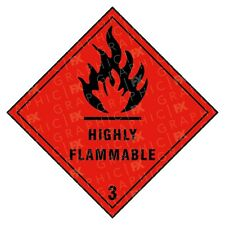 Highly Flammable 3 Hazard Warning Labels Stickers COSHH PPE