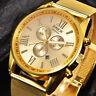 NEW Luxury Mens Dial Gold Stainless Steel Date Quartz Analog Sport Wrist Watch