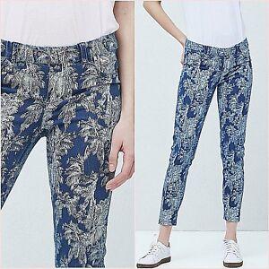 SALE Blue Palm Floral Print Cropped Skinny Jeans Size UK 12 14 US 8 10 Blogger ❤