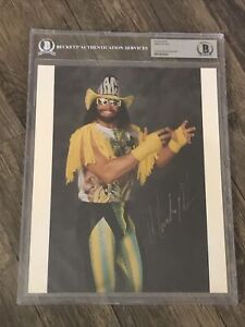 "RANDY ""MACHO MAN"" SAVAGE SIGNED AUTOGRAPHED 8X10 PHOTO WCW BECKETT BAS SLABBED"