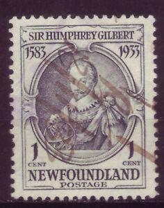 NEWFOUNDLAND 1933; SIR HUMPHREY GILBERT; SHORT SET OF 1; SC # 212; USED