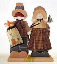 "Vintage folk art Give Thanks wooden pilgrim Thanksgiving figures 15"" tall"