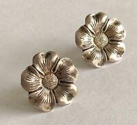 """Vintage Sterling Silver 925 Flower Screw Back Earrings 3/4"""" Diameter"""