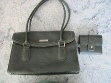 Liz Claiborne faux croc moss green purse handbag with matching wallet