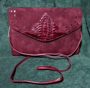 Suede & Snakeskin Convertible Clutch / Shoulder Bag