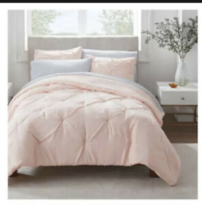 Pink 7 PIECE Queen Size Comforter Set Bed in a Bag Fitted Flat Sheet Antimicrobi