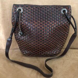 Brighton Woven leather purse black messenger bucket hobo Vintage bag