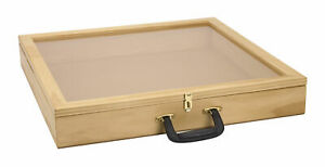 """24 inch Portable Natural Pine Wood Countertop Display Case - 24""""W x 24""""L x 3""""D"""