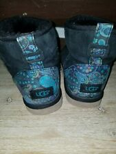 Paisley Ugg Black Boots Size Ladies 9 Shortie