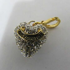 Juicy couture Charm Pave Puff Heart Gold Tone