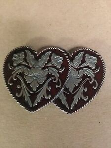 Pewter Double Heart Belt Buckle With Red Enamel