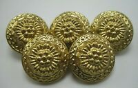 """Lot of 5 Vintage Brass Domed Floral Buttons 7/8"""" Diameter Very Pretty T5"""