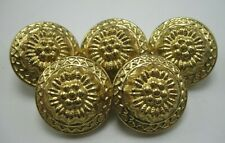 "Lot of 5 Vintage Brass Domed Floral Buttons 7/8"" Diameter Very Pretty T5"