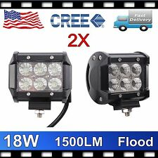 2PCS 4INCH 18W CREE FLOOD BEAM LED WORK LIGHT BAR FOG/DRIVING LIGHTS UTE SUV PRE