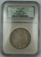 1810 Capped Bust Silver Half Dollar 50c O-109A NGC AU Details Imp Cleaned Scarce