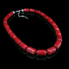 LARGE 925 Sterling Silver Genuine Orange Red Coral Necklace