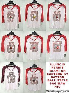 NCAA Juniors 3/4 Sleeve Shirt Glitter Logo College EST Shirt CLOSEOUT