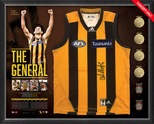 Luke Hodge Signed Official Hawthorn AFL Retirement Jumper Framed Replica Medals