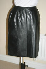 VAKKO Womens BLACK Lambskin REAL LEATHER SKIRT uk12 us8 eu38 Waist w28ins w71cms