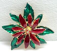 Lia Poinsettia Brooch Pin Enamel Red and Clear Rhinestone Crystal Christmas 3D