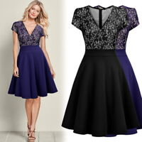 Women's Vintage Floral Lace Dress, Fit and Flare Perfect for Homecoming and More