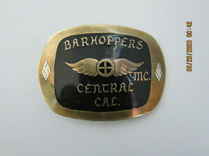 VINTAGE BARHOPPERS MC CLUB CENTRAL CALIFORNIA BELT BUCKLE RARE SEE PHOTO