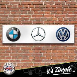 BMW Mercedes Volkswagen Logos Banner Garage Workshop Sign PVC Trackside Display