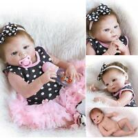 "23""  Full Body Silicone Reborn Baby Girl Doll Lifelike Bath Baby Doll Gift"
