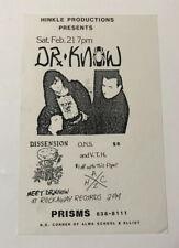 Vintage Hardcore Punk Rock Concert Flyer Dr. Know Dissension 1987 Phoenix AZ