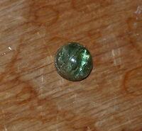 1 Turmalin Cabochon rund Brasilien grün opak 3,27 ct 5 x 8,6 mm Katzenauge
