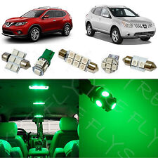 6x Green LED lights interior package kit for 2008-2014 Nissan Rouge NR1G