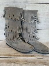 Minnetonka Moccasin 1638 Gray Suede 3 Layer Fringe Calf High Boots Womens  10
