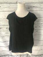 Violet & Claire Women's Sleeveless Top Sz L Black White Layered Career Blouse