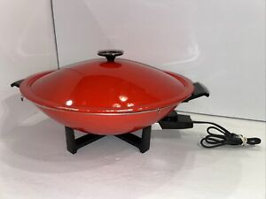 "WEST BEND 1000 WATT ELECTRIC WOK MODEL 79506X 14.5"" RED With Steam Rack & Lid"