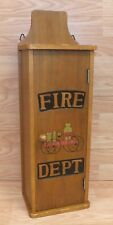 Fire Dept Liberty Cart Brown Wooden Mallet Fire Extinguisher Cabinet Only *READ*