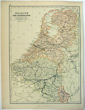 Belgium & the Netherlands - Original 1882 Map by Blackie & Son. Antique