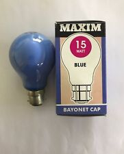 MAXIM 15W BC/B22 BLUE COLOURED INCANDESCENT GLS BULB - PACK OF TWO