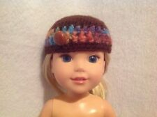 "Wellie Wishers brown purple crocheted hat beanie American Girl 14"" doll clothes"